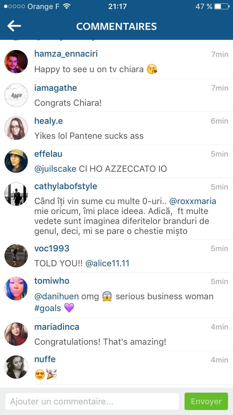 Commentaires publiés par les abonnés de Chiara Ferragni