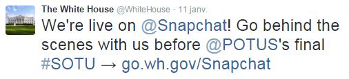La maison blanche d sormais sur snapchat influenth for Assaut sur la maison blanche bande annonce