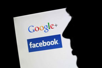 An ilustration shows the silhouette of a man in front of a monitor, showing the logos of the social network Google+ and Facebook in Hanover, Germany, 21 September 2011. After Google+ had opened for certain users, now it can be used by everyone. Photo: JULIAN STARATENSCHULTE  -ALLIANCE-INFOPHOTO