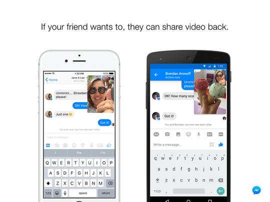 Vidéo en direct disponible sur Messenger