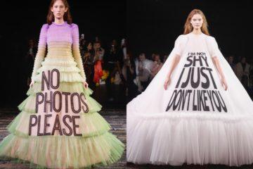 À l'occasion de la Fashion Week printemps-été 2019, la maison néerlandaise Viktor & Rolf a fait défiler ses mannequins aux mines serrées, dans de folles robes en tulle ornées de slogans féministes. À la suite de quoi les internautes se sont emparés des clichés pour les détourner en mèmes sur Twitter.