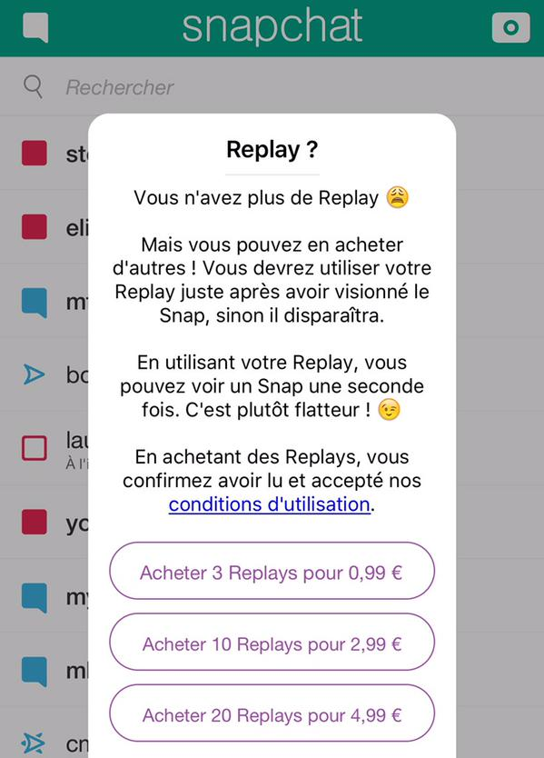 snapchat et le replay payant