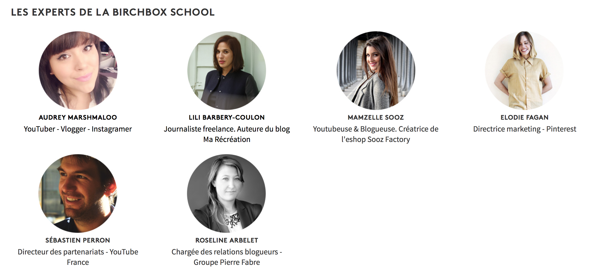 Experts de la BirchBox School