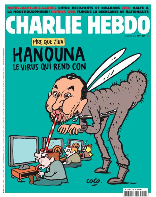 """La une de Charlie Hebdo - Cyril Hanouna émission """"Touche pas à mon poste"""""""