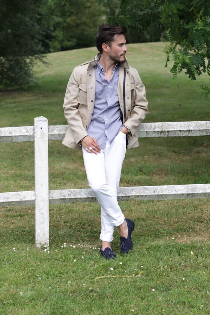 look pantalon blanc et saharienne homme influenth. Black Bedroom Furniture Sets. Home Design Ideas