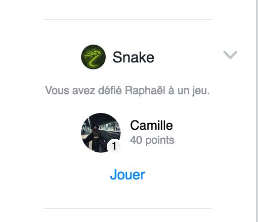 Snake sur Facebook Messenger