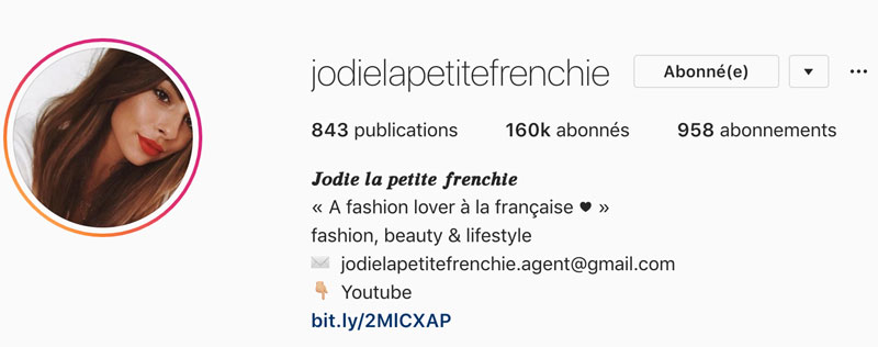 Lien Instagram Biographie